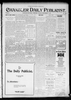 Primary view of object titled 'Chandler Daily Publicist. (Chandler, Okla. Terr.), Vol. 3, No. 145, Ed. 1 Monday, September 19, 1904'.