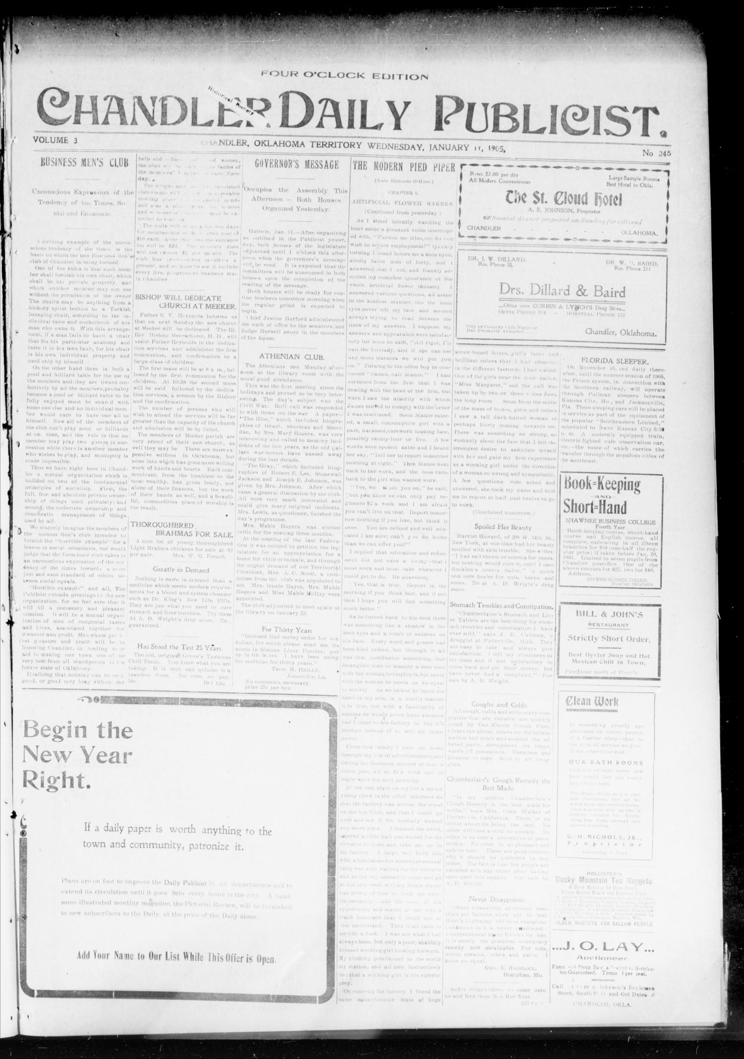 Chandler Daily Publicist. (Chandler, Okla. Terr.), Vol. 3, No. 245, Ed. 1 Wednesday, January 11, 1905                                                                                                      [Sequence #]: 1 of 4