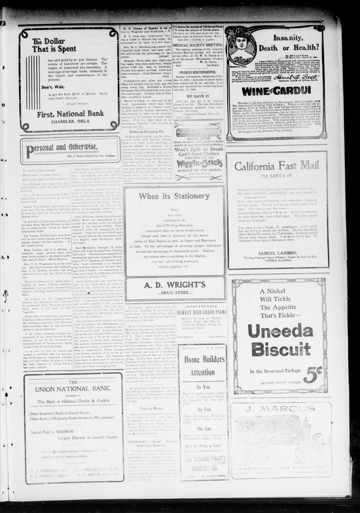 Chandler Daily Publicist. (Chandler, Okla. Terr.), Vol. 3, No. 245, Ed. 1 Wednesday, January 11, 1905                                                                                                      [Sequence #]: 3 of 4