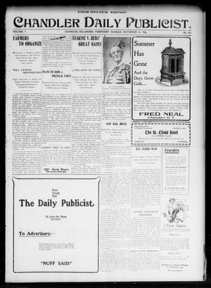 Primary view of object titled 'Chandler Daily Publicist. (Chandler, Okla. Terr.), Vol. 3, No. 196, Ed. 1 Monday, November 14, 1904'.