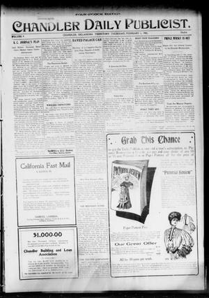 Primary view of object titled 'Chandler Daily Publicist. (Chandler, Okla. Terr.), Vol. 3, No. 264, Ed. 1 Thursday, February 2, 1905'.