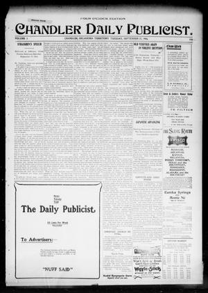 Primary view of object titled 'Chandler Daily Publicist. (Chandler, Okla. Terr.), Vol. 3, No. 156, Ed. 1 Tuesday, September 27, 1904'.
