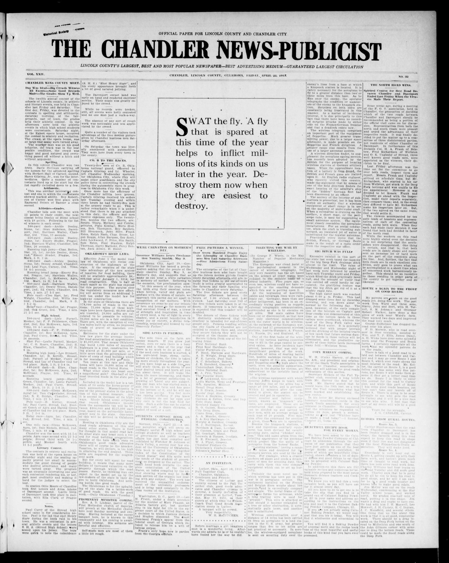 The Chandler News-Publicist (Chandler, Okla.), Vol. 24, No. 32, Ed. 1 Friday, April 23, 1915                                                                                                      [Sequence #]: 1 of 8