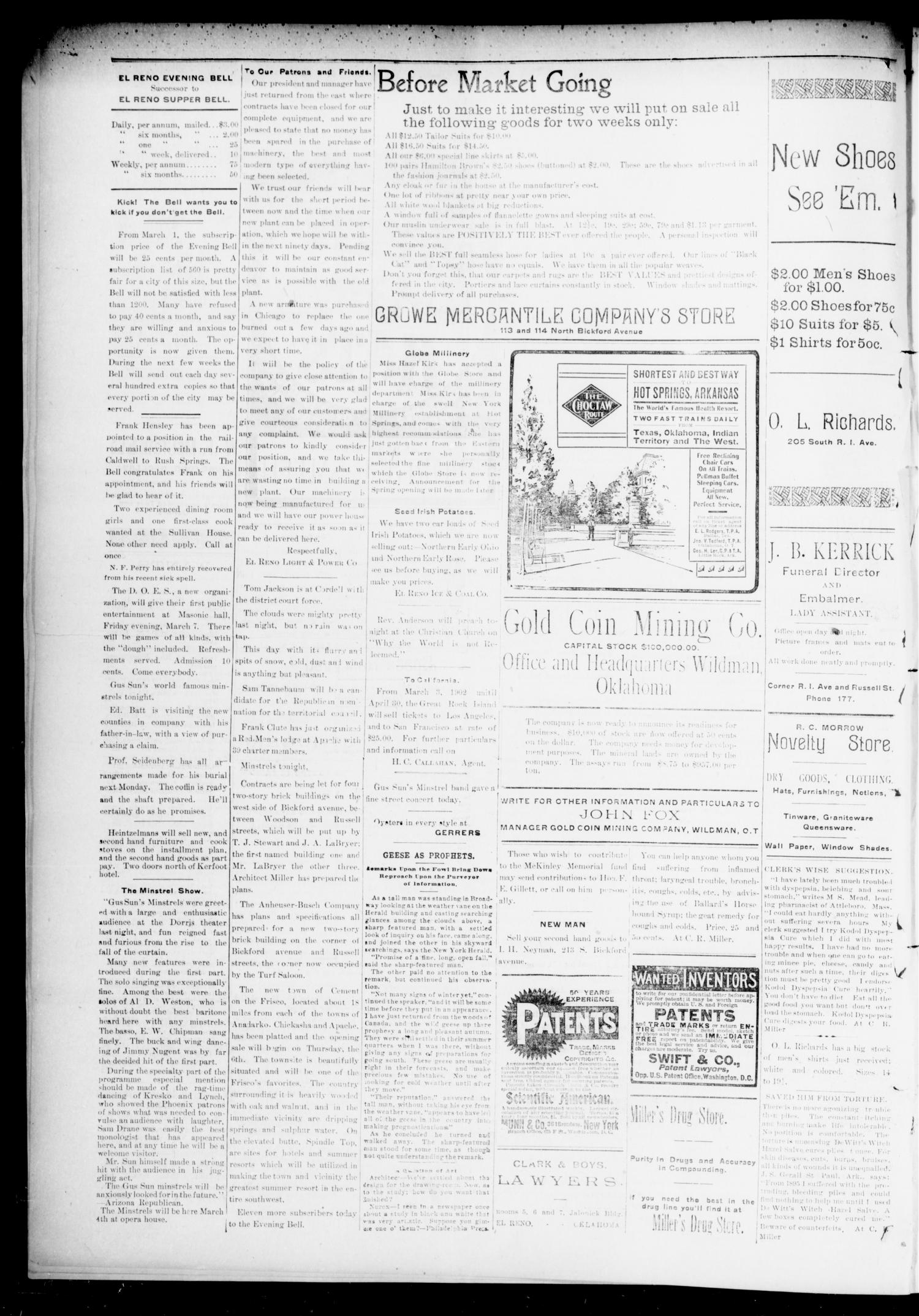 El Reno Evening Bell. (El Reno, Okla.), Vol. 7, No. 163, Ed. 1 Tuesday, March 4, 1902                                                                                                      [Sequence #]: 2 of 4