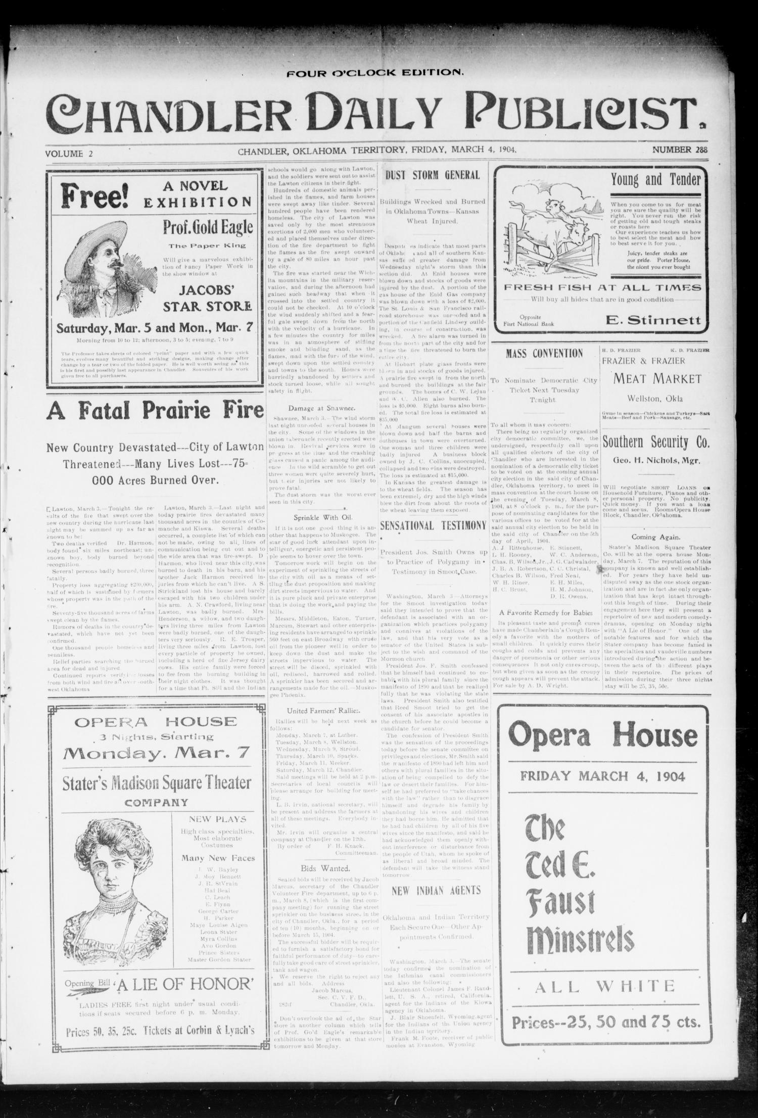 Chandler Daily Publicist. (Chandler, Okla. Terr.), Vol. 2, No. 288, Ed. 1 Friday, March 4, 1904                                                                                                      [Sequence #]: 1 of 4