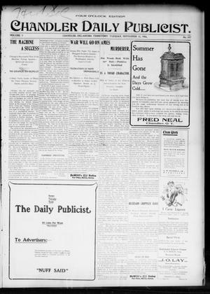Primary view of object titled 'Chandler Daily Publicist. (Chandler, Okla. Terr.), Vol. 3, No. 197, Ed. 1 Tuesday, November 15, 1904'.