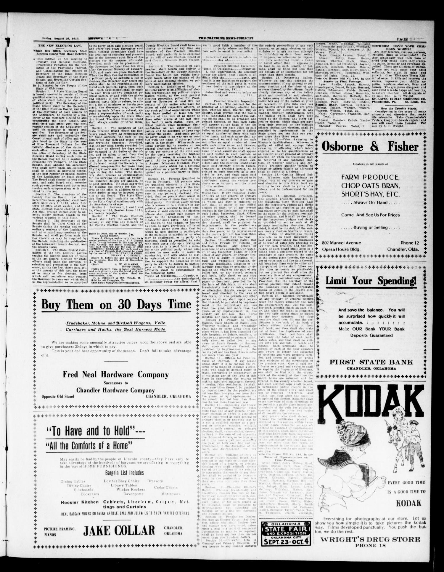 The Chandler News-Publicist (Chandler, Okla.), Vol. 22, No. 50, Ed. 1 Friday, August 29, 1913                                                                                                      [Sequence #]: 3 of 8