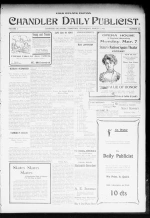 Primary view of object titled 'Chandler Daily Publicist. (Chandler, Okla. Terr.), Vol. 2, No. 286, Ed. 1 Wednesday, March 2, 1904'.