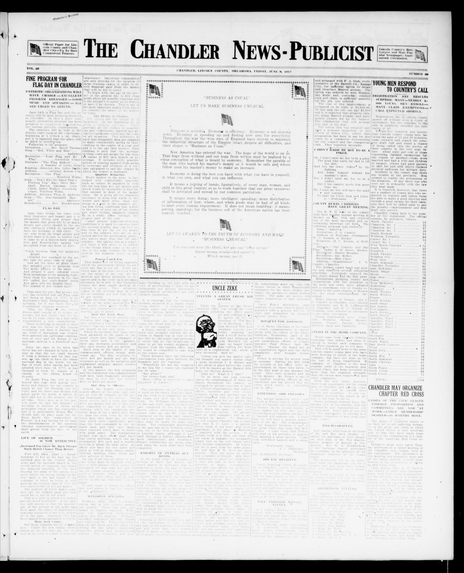 The Chandler News-Publicist (Chandler, Okla.), Vol. 26, No. 39, Ed. 1 Friday, June 8, 1917                                                                                                      [Sequence #]: 1 of 12