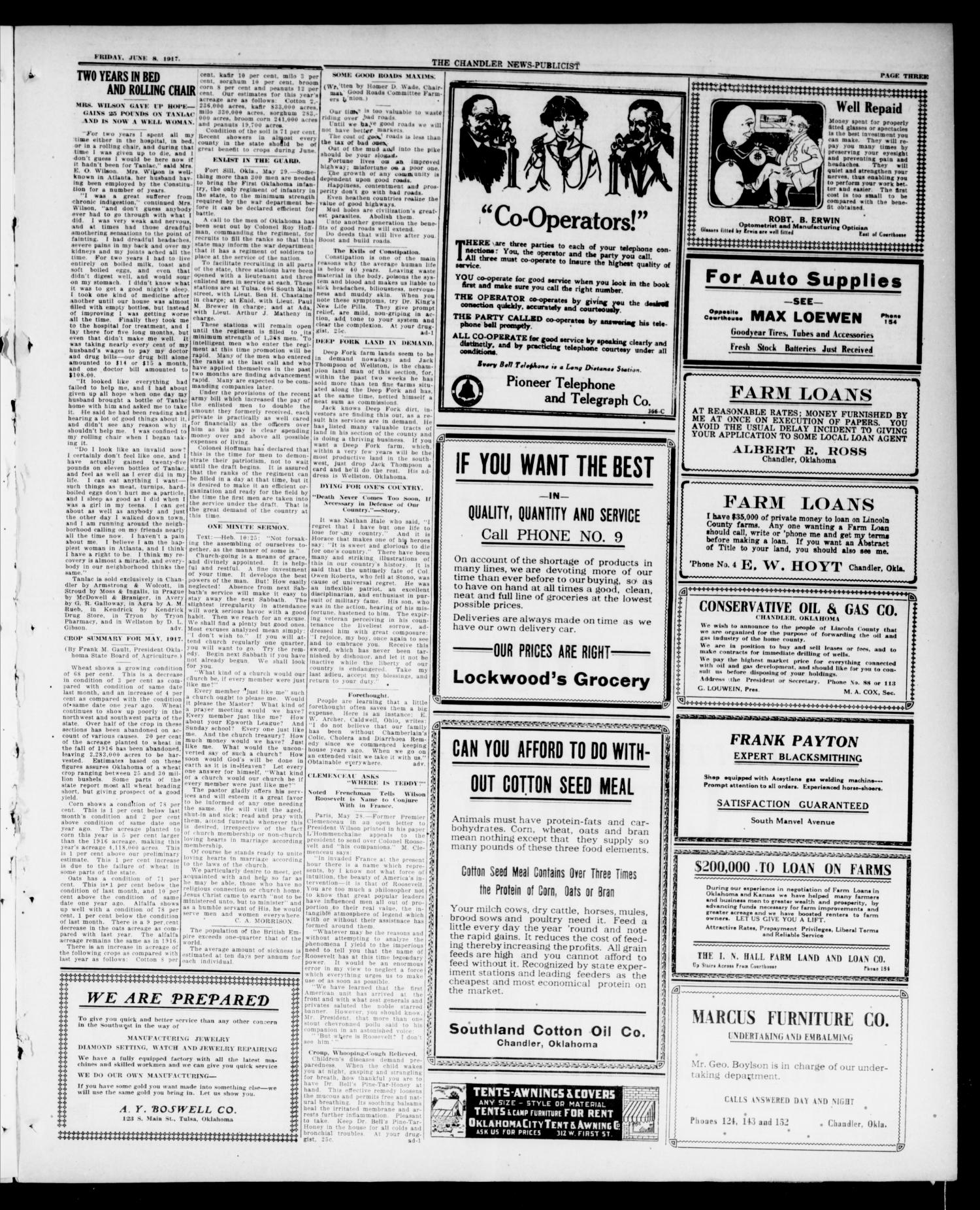 The Chandler News-Publicist (Chandler, Okla.), Vol. 26, No. 39, Ed. 1 Friday, June 8, 1917                                                                                                      [Sequence #]: 3 of 12