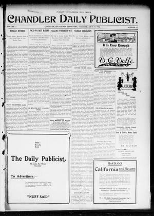 Primary view of object titled 'Chandler Daily Publicist. (Chandler, Okla. Terr.), Vol. 3, No. 92, Ed. 1 Tuesday, July 19, 1904'.