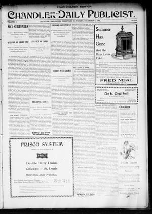 Primary view of object titled 'Chandler Daily Publicist. (Chandler, Okla. Terr.), Vol. 3, No. 212, Ed. 1 Saturday, December 3, 1904'.