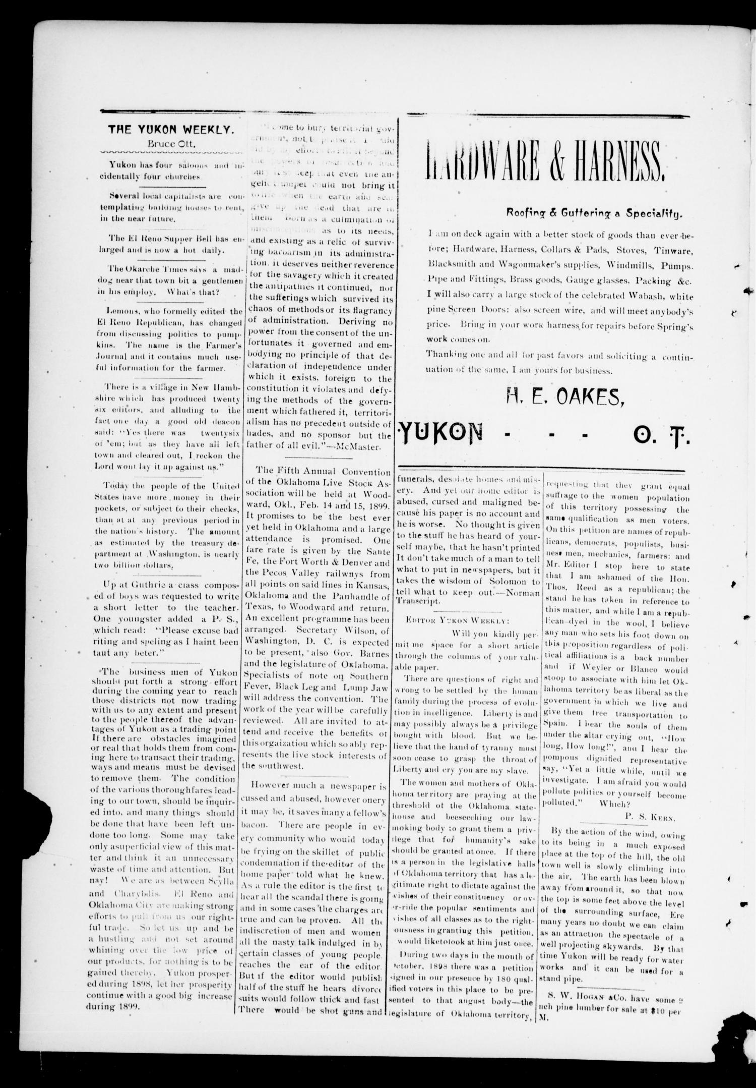 The Yukon Weekly. (Yukon, Okla.), Vol. 7, No. 5, Ed. 1 Thursday, February 2, 1899                                                                                                      [Sequence #]: 2 of 4
