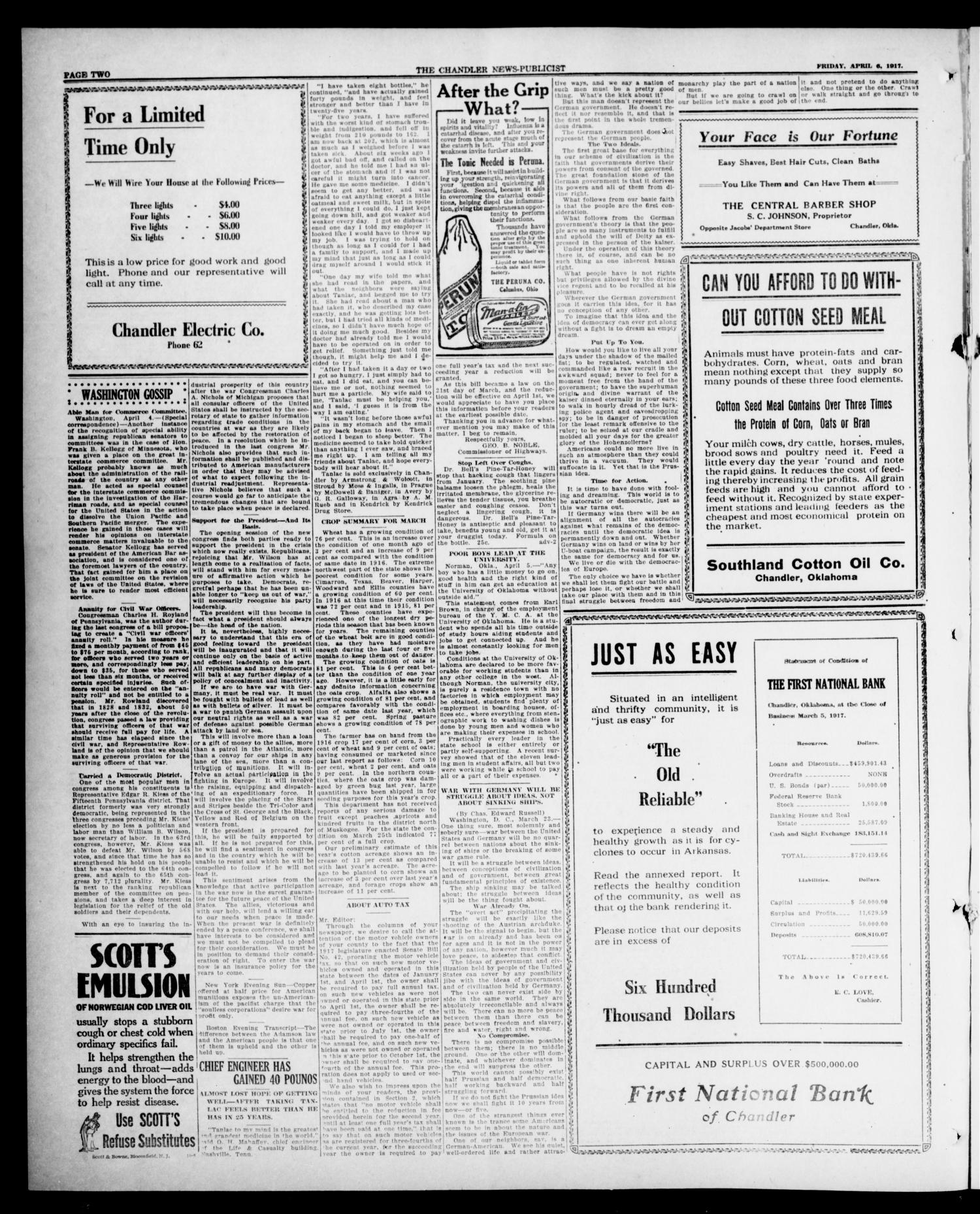 The Chandler News-Publicist (Chandler, Okla.), Vol. 26, No. 30, Ed. 1 Friday, April 6, 1917                                                                                                      [Sequence #]: 2 of 8