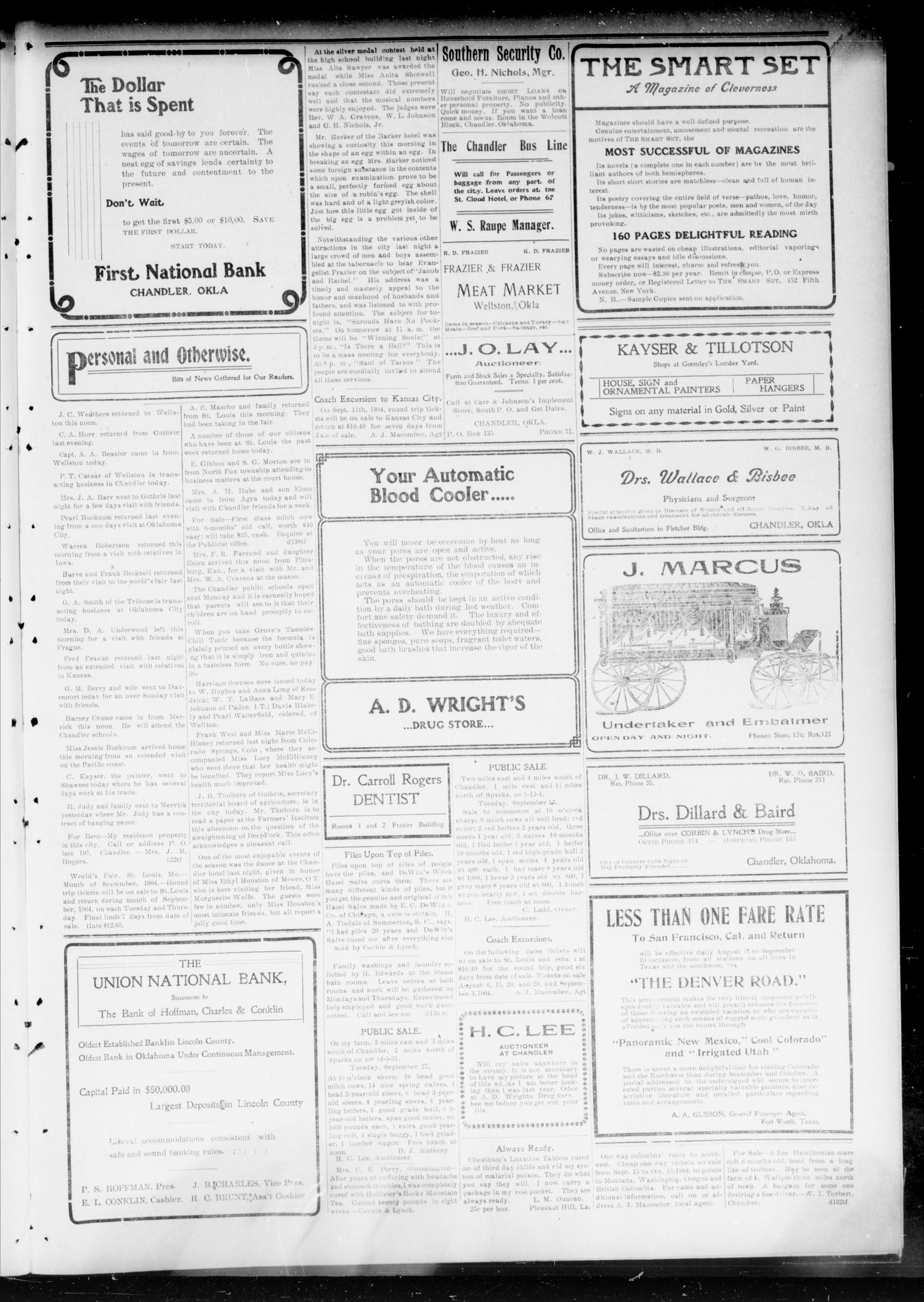 Chandler Daily Publicist. (Chandler, Okla. Terr.), Vol. 3, No. 138, Ed. 1 Saturday, September 10, 1904                                                                                                      [Sequence #]: 5 of 8