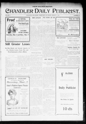 Primary view of object titled 'Chandler Daily Publicist. (Chandler, Okla. Terr.), Vol. 2, No. 289, Ed. 1 Saturday, March 5, 1904'.