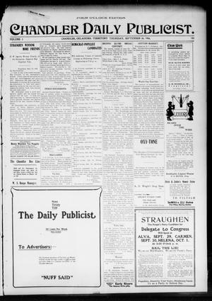 Primary view of object titled 'Chandler Daily Publicist. (Chandler, Okla. Terr.), Vol. 3, No. 158, Ed. 1 Thursday, September 29, 1904'.