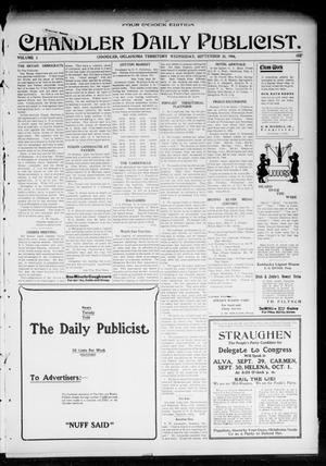 Primary view of object titled 'Chandler Daily Publicist. (Chandler, Okla. Terr.), Vol. 3, No. 157, Ed. 1 Wednesday, September 28, 1904'.