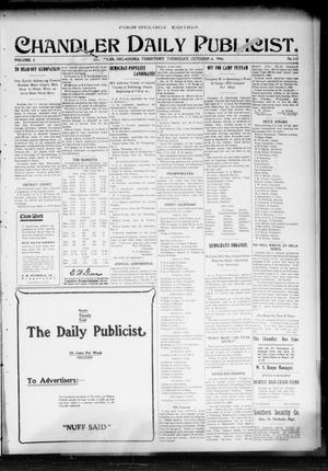 Primary view of object titled 'Chandler Daily Publicist. (Chandler, Okla. Terr.), Vol. 3, No. 163, Ed. 1 Thursday, October 6, 1904'.