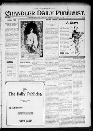 Primary view of object titled 'Chandler Daily Publicist. (Chandler, Okla. Terr.), Vol. 3, No. 167, Ed. 1 Tuesday, October 11, 1904'.