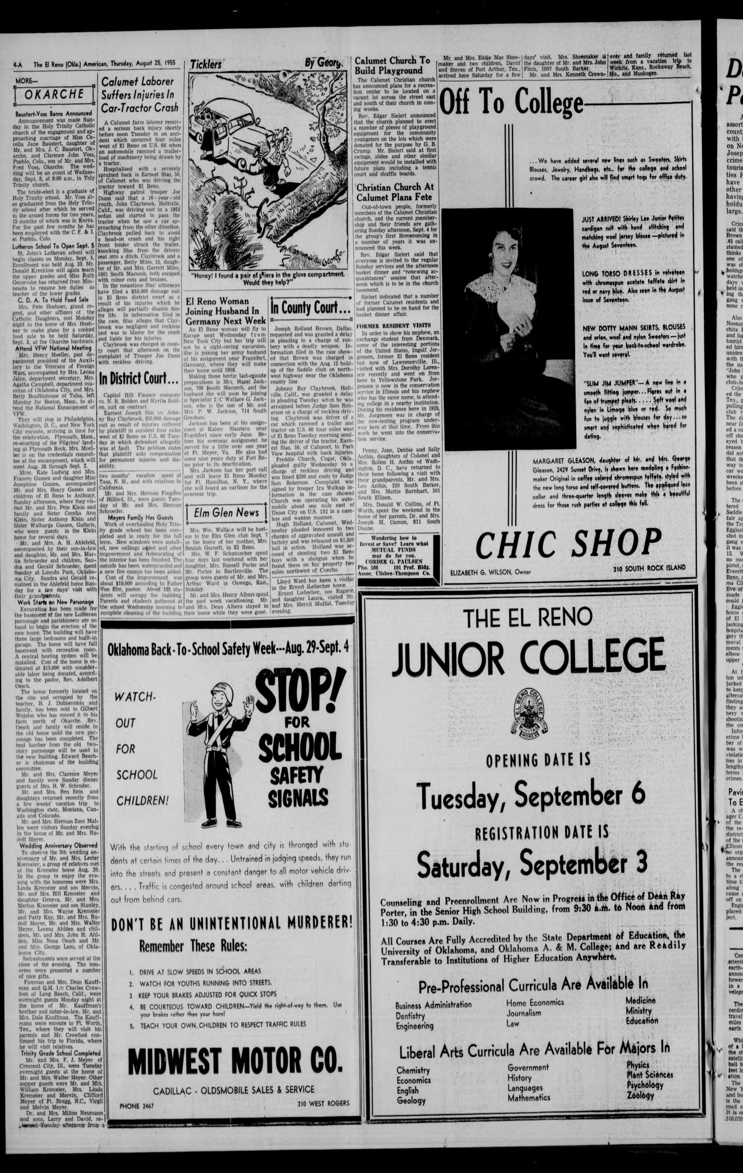 The El Reno American Okla Vol 61 No 44 Ed 1 Murdered Out 1955 Cadillac Thursday August 25 Page 4 Of 14 Gateway To Oklahoma History