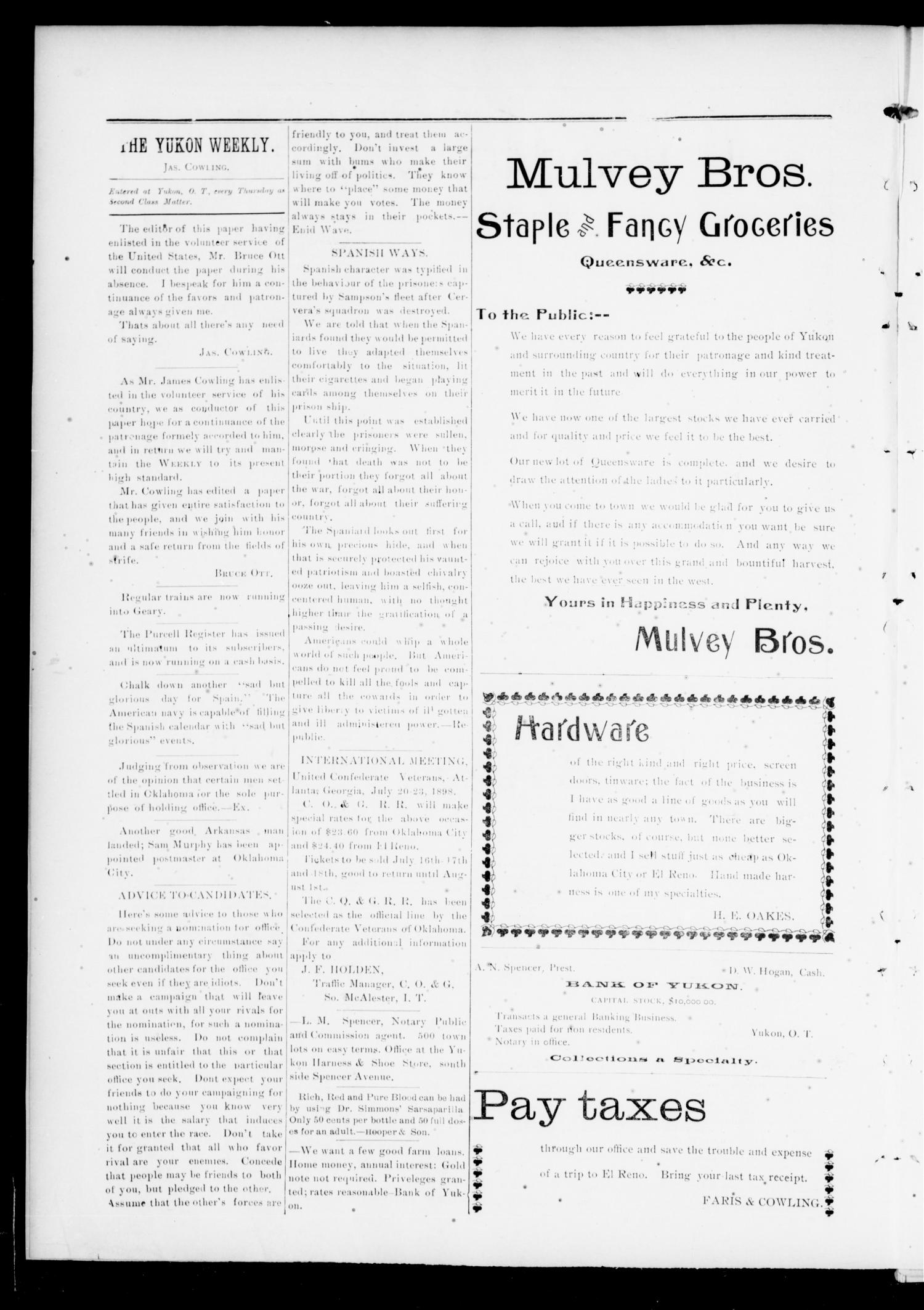 The Yukon Weekly. (Yukon, Okla.), Vol. 6, No. 21, Ed. 1 Thursday, July 7, 1898                                                                                                      [Sequence #]: 4 of 8