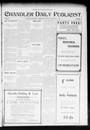 Primary view of object titled 'Chandler Daily Publicist. (Chandler, Okla. Terr.), Vol. 2, No. 279, Ed. 1 Tuesday, February 23, 1904'.