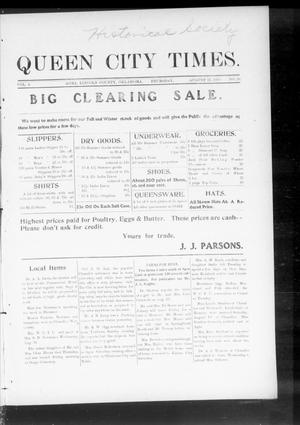 Primary view of object titled 'Queen City Times. (Agra, Okla.), Vol. 4, No. 50, Ed. 1 Thursday, August 25, 1910'.