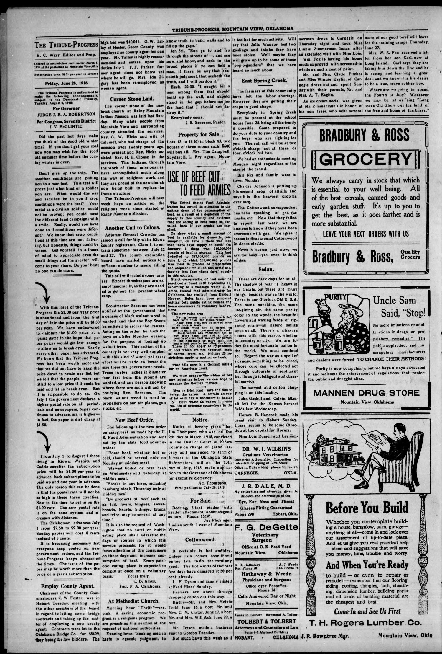 The Tribune-Progress (Mountain View, Okla.), Vol. 20, No. 8, Ed. 1 Friday, June 28, 1918                                                                                                      [Sequence #]: 4 of 8