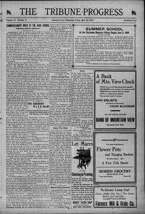 Primary view of object titled 'The Tribune-Progress (Mountain View, Okla.), Vol. 21, No. 3, Ed. 1 Friday, May 23, 1919'.