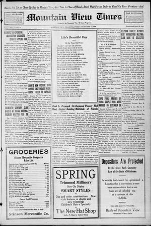 Primary view of Mountain View Times (Mountain View, Okla.), Vol. 21, No. 41, Ed. 1 Friday, February 13, 1920