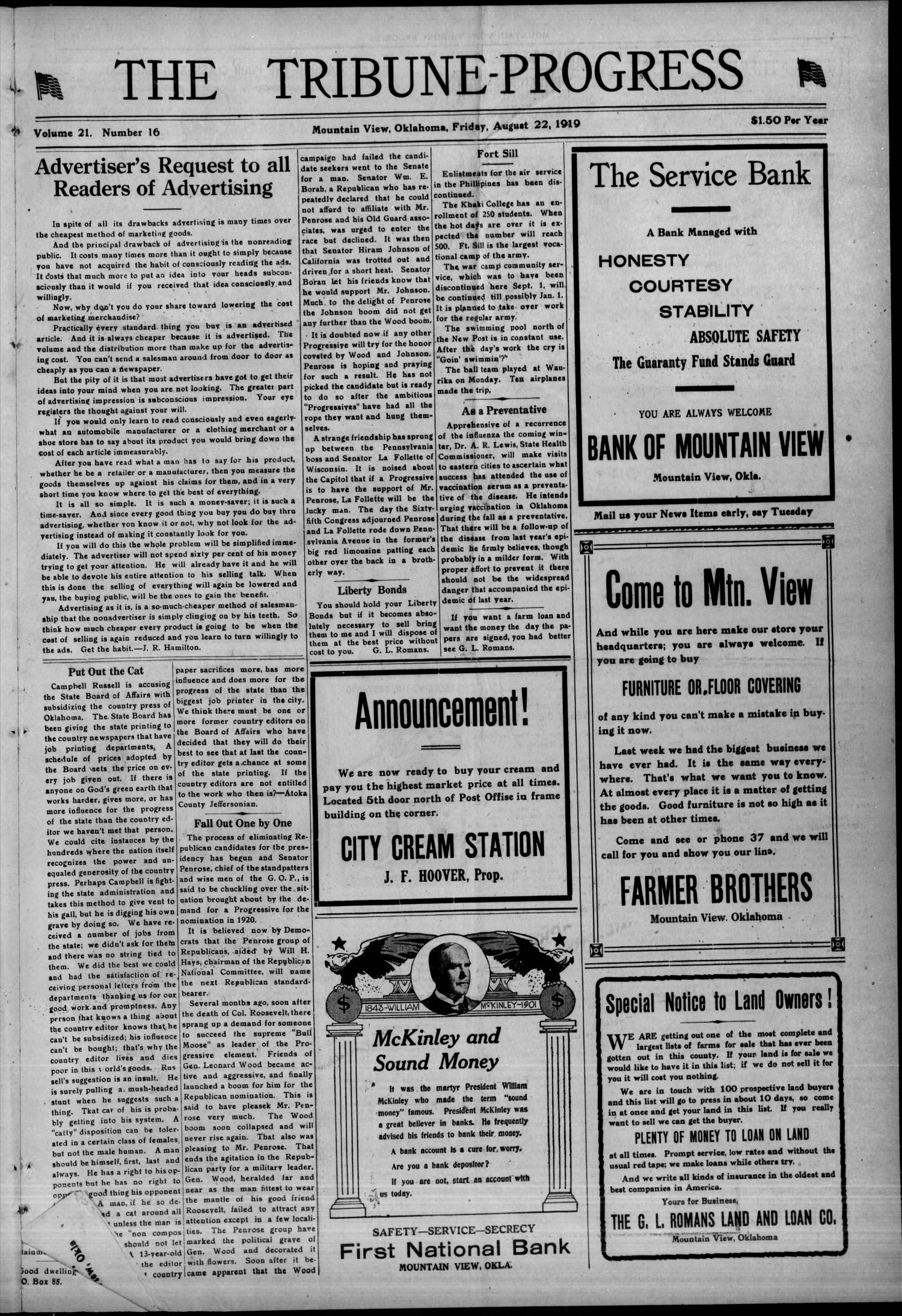 The Tribune-Progress (Mountain View, Okla.), Vol. 21, No. 16, Ed. 1 Friday, August 22, 1919                                                                                                      [Sequence #]: 1 of 8
