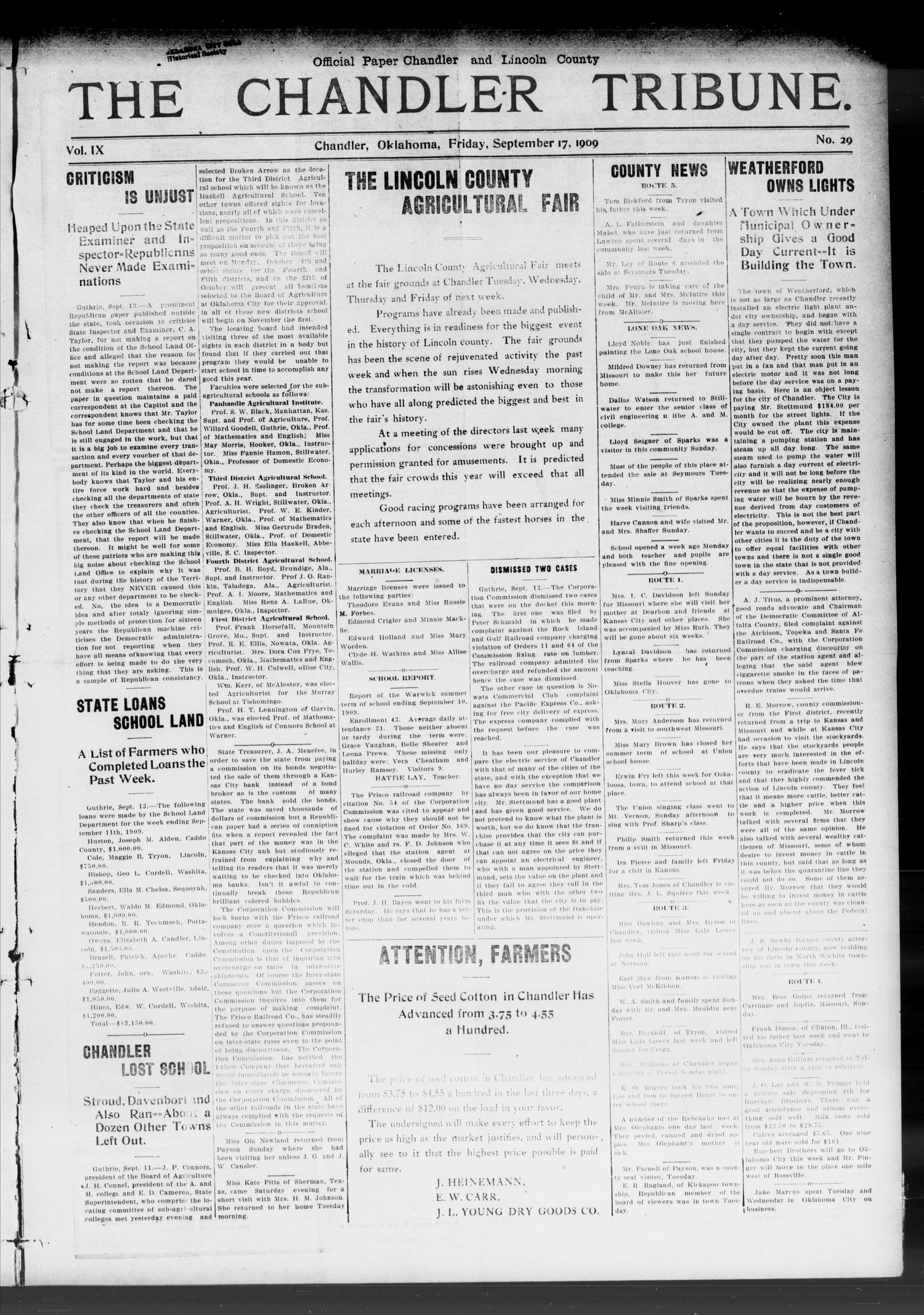 The Chandler Tribune. (Chandler, Okla.), Vol. 9, No. 29, Ed. 1 Friday, September 17, 1909                                                                                                      [Sequence #]: 1 of 12