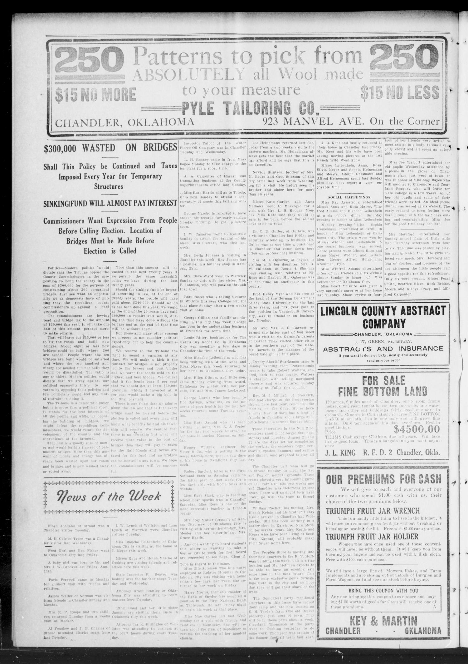 The Chandler Tribune (Chandler, Okla.), Vol. 11, No. 24, Ed. 1 Thursday, August 17, 1911                                                                                                      [Sequence #]: 2 of 8