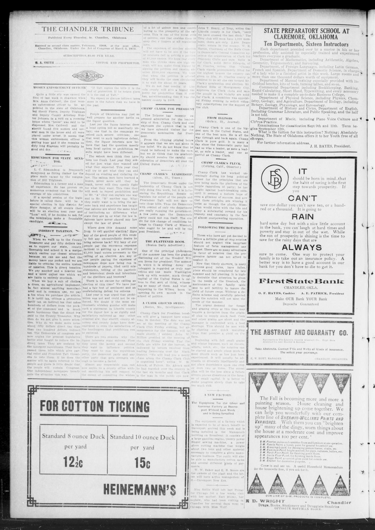 The Chandler Tribune (Chandler, Okla.), Vol. 11, No. 24, Ed. 1 Thursday, August 17, 1911                                                                                                      [Sequence #]: 4 of 8