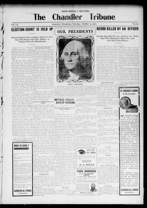 Primary view of object titled 'The Chandler Tribune (Chandler, Okla.), Vol. 7, No. 72, Ed. 1 Tuesday, October 15, 1907'.