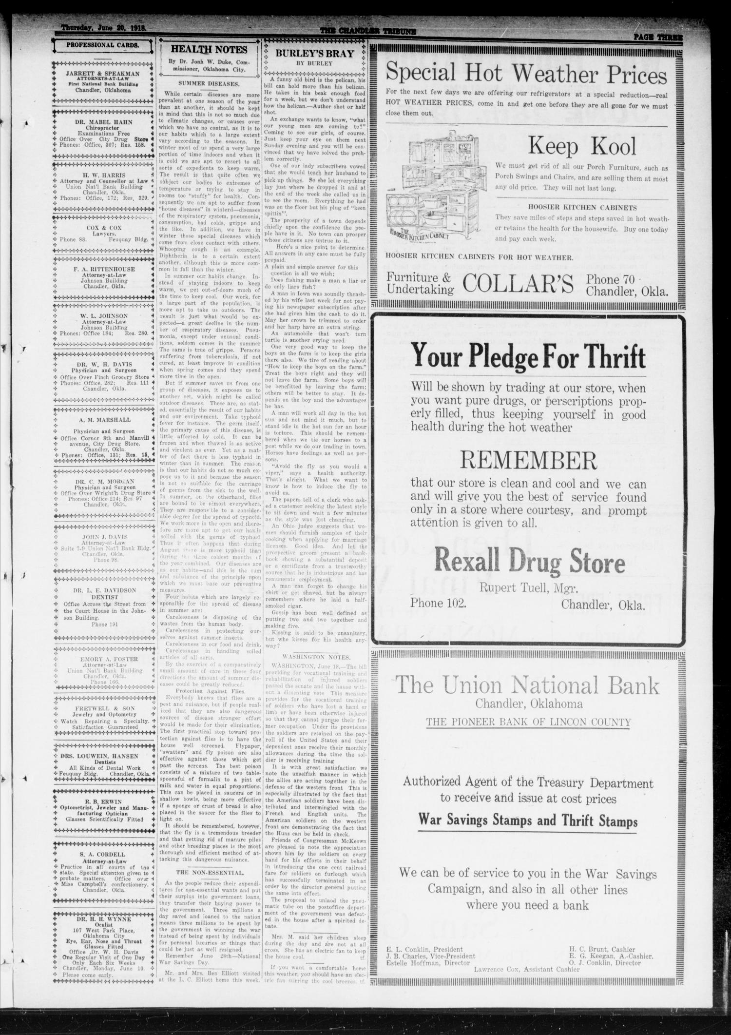 The Chandler Tribune (Chandler, Okla.), Vol. 18, No. 18, Ed. 1 Thursday, June 20, 1918                                                                                                      [Sequence #]: 3 of 10
