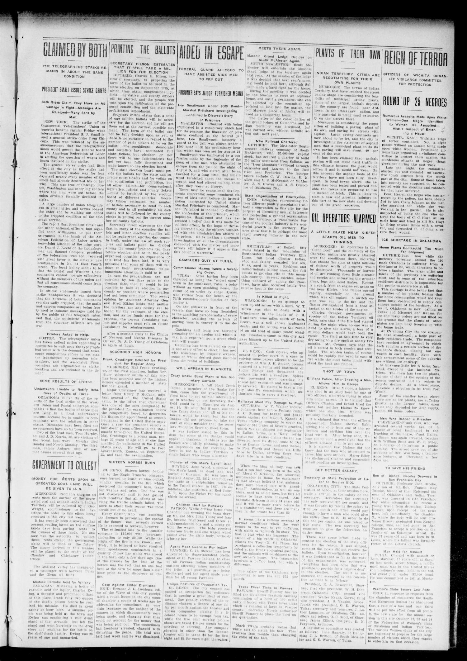 The Chandler Tribune (Chandler, Okla.), Vol. 7, No. 57, Ed. 1 Friday, August 23, 1907                                                                                                      [Sequence #]: 3 of 4
