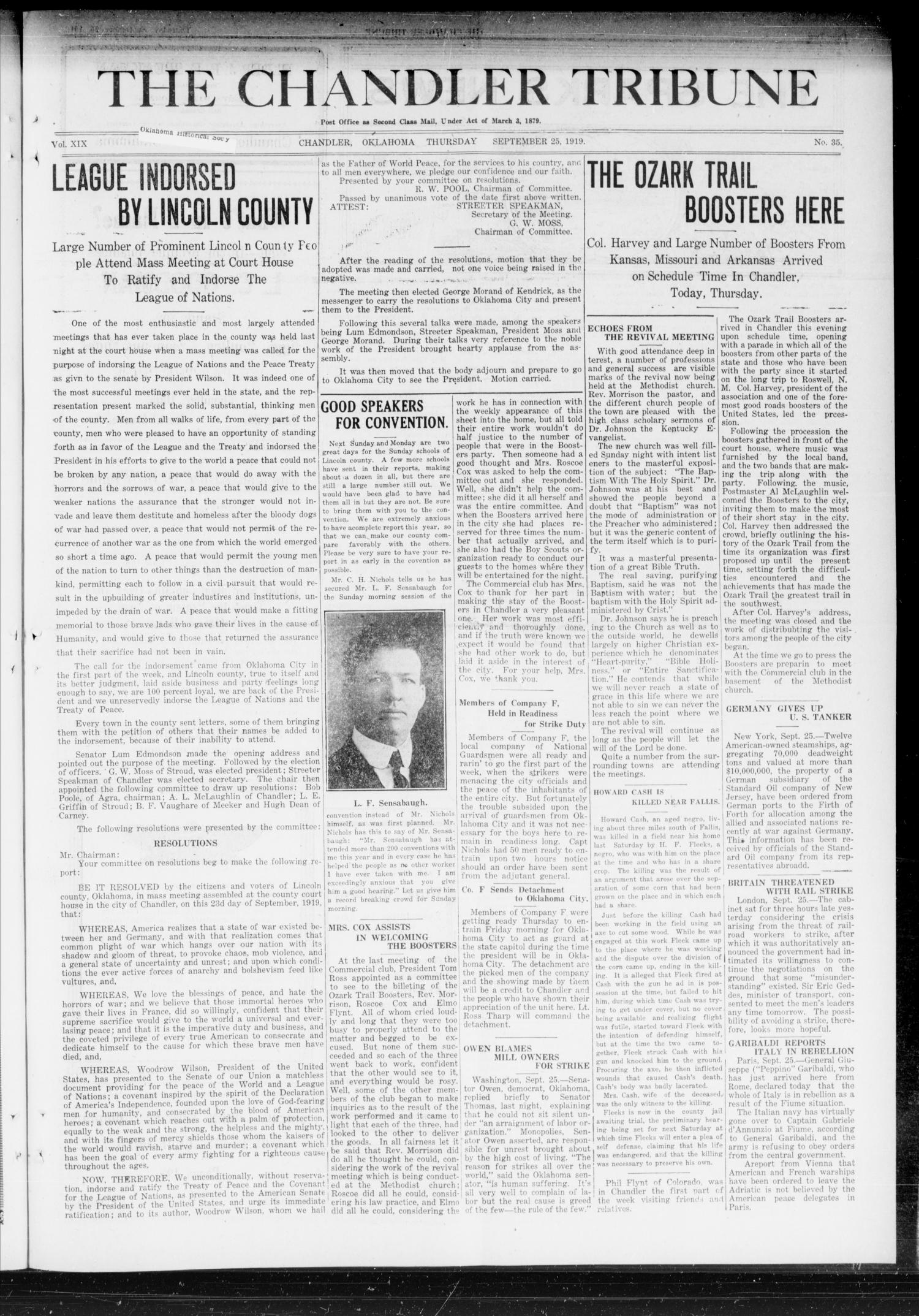 The Chandler Tribune (Chandler, Okla.), Vol. 19, No. 35, Ed. 1 Thursday, September 25, 1919                                                                                                      [Sequence #]: 1 of 8