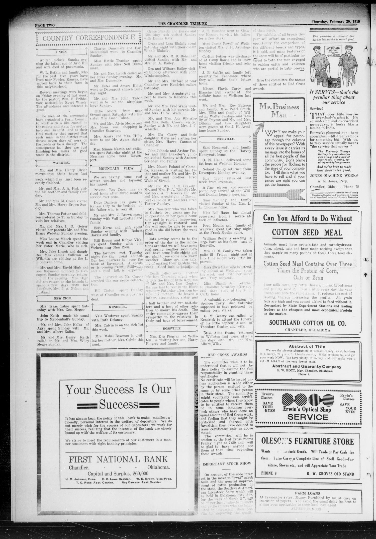 The Chandler Tribune (Chandler, Okla.), Vol. 19, No. 4, Ed. 1 Thursday, February 20, 1919                                                                                                      [Sequence #]: 2 of 8