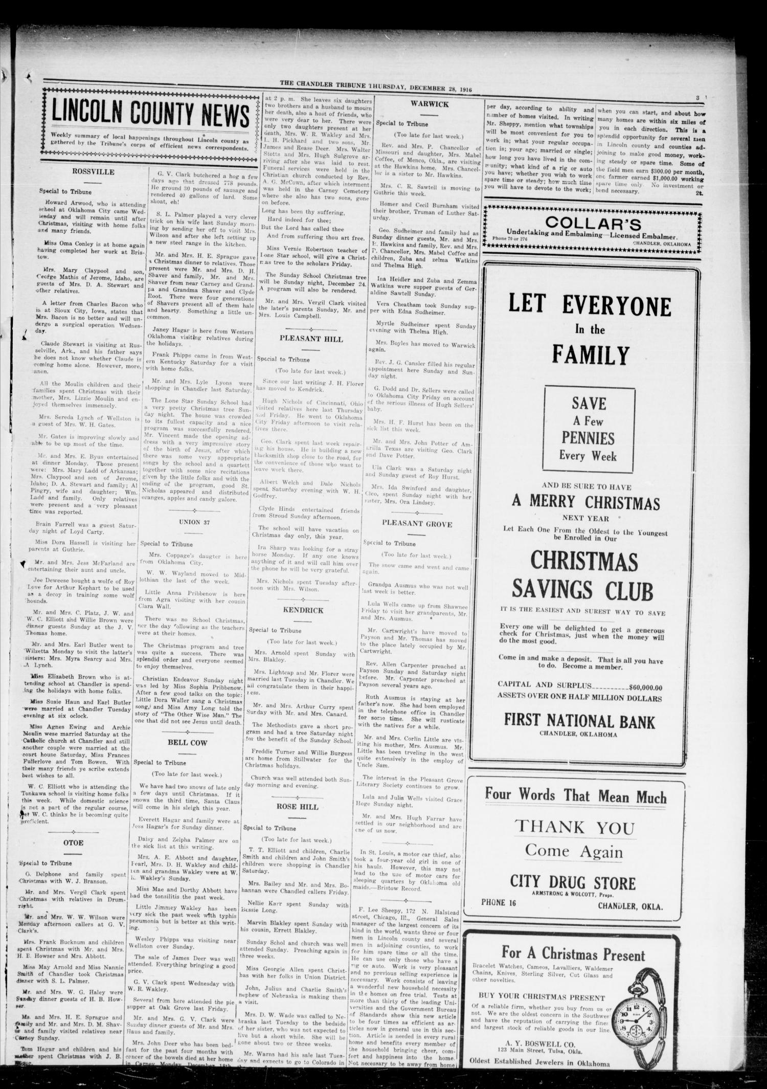 The Chandler Tribune (Chandler, Okla.), Vol. 16, No. 45, Ed. 1 Thursday, December 28, 1916                                                                                                      [Sequence #]: 3 of 8
