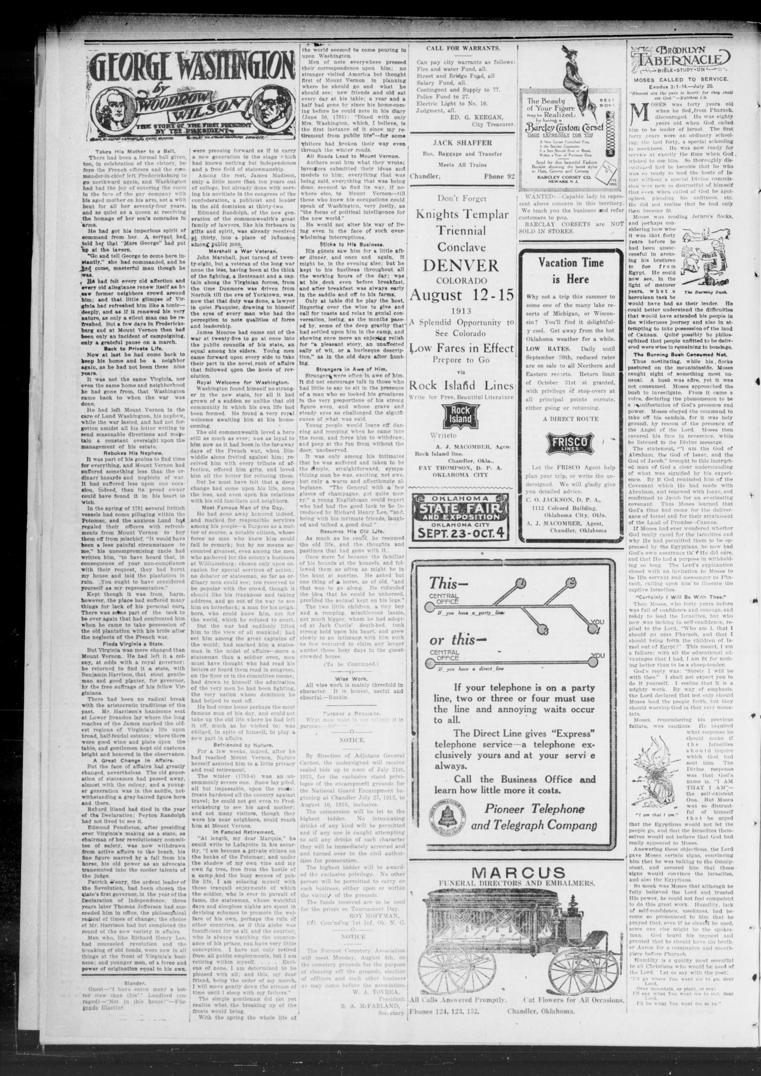 The Chandler Tribune (Chandler, Okla.), Vol. 13, No. 20, Ed. 1 Thursday, July 17, 1913                                                                                                      [Sequence #]: 2 of 8