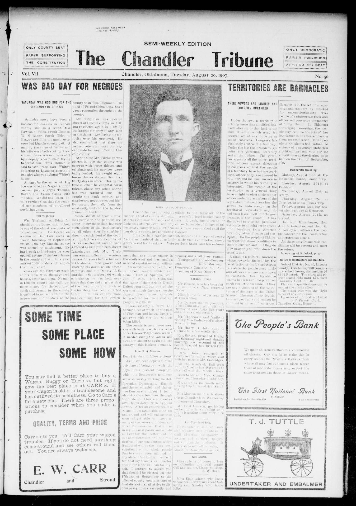 The Chandler Tribune (Chandler, Okla.), Vol. 7, No. 56, Ed. 1 Tuesday, August 20, 1907                                                                                                      [Sequence #]: 1 of 4