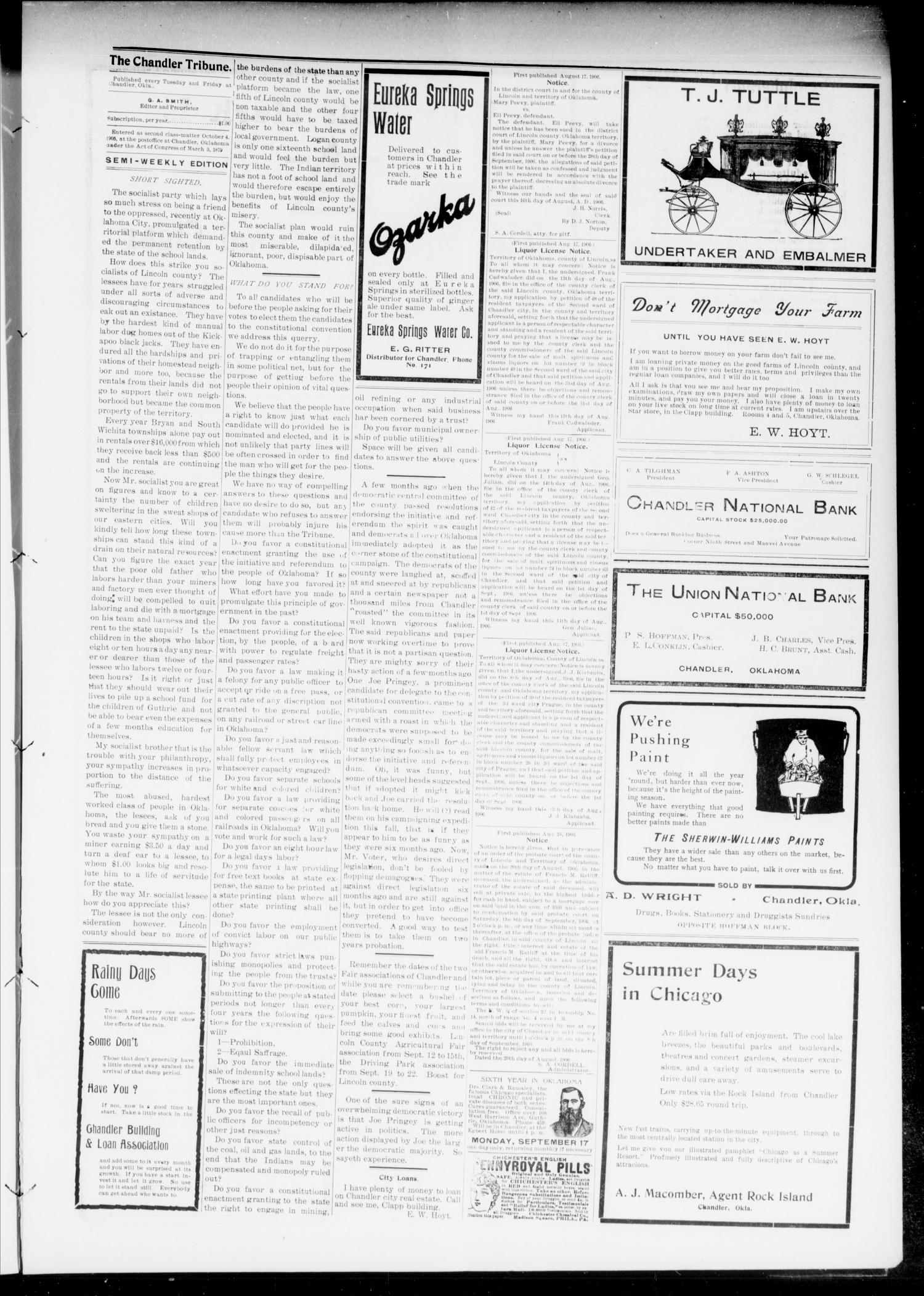The Chandler Tribune (Chandler, Okla.), Vol. 6, No. 52, Ed. 1 Tuesday, August 28, 1906                                                                                                      [Sequence #]: 3 of 6