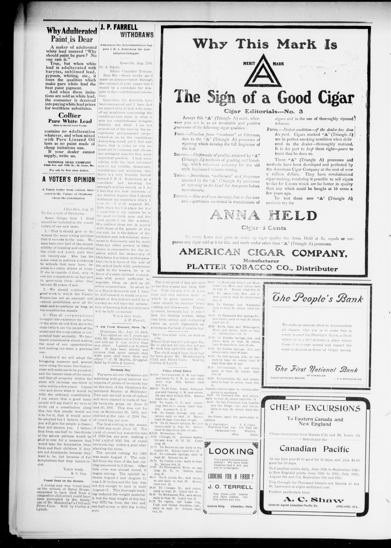 The Chandler Tribune (Chandler, Okla.), Vol. 6, No. 52, Ed. 1 Tuesday, August 28, 1906                                                                                                      [Sequence #]: 4 of 6