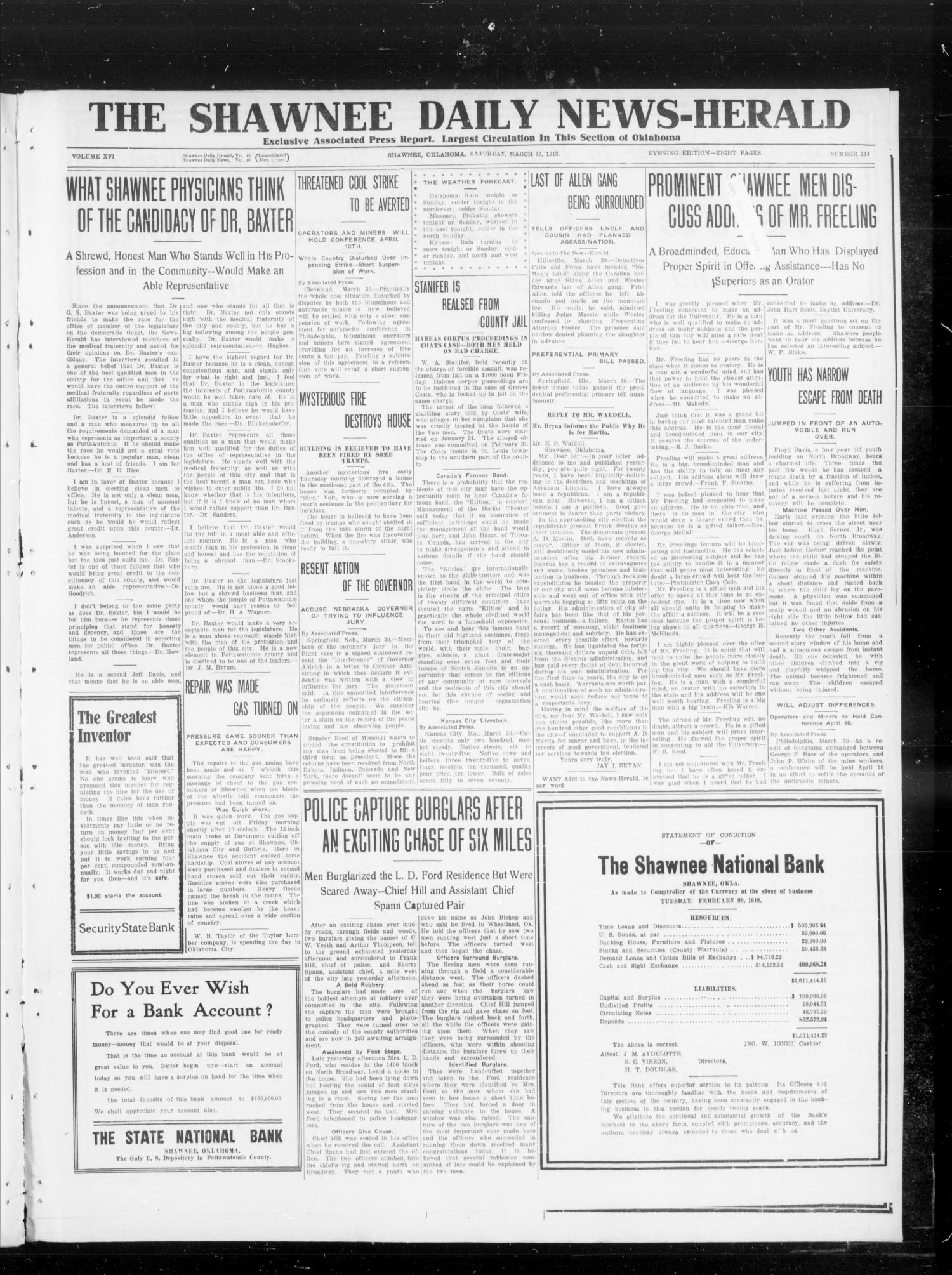 The Shawnee Daily News-Herald (Shawnee, Okla.), Vol. 16, No. 214, Ed. 1 Saturday, March 30, 1912                                                                                                      [Sequence #]: 1 of 8