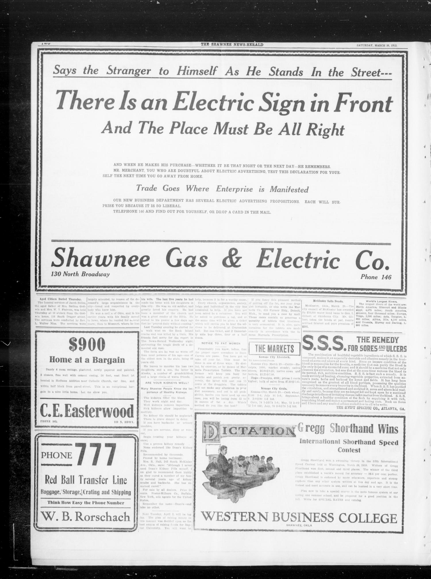 The Shawnee Daily News-Herald (Shawnee, Okla.), Vol. 16, No. 214, Ed. 1 Saturday, March 30, 1912                                                                                                      [Sequence #]: 2 of 8