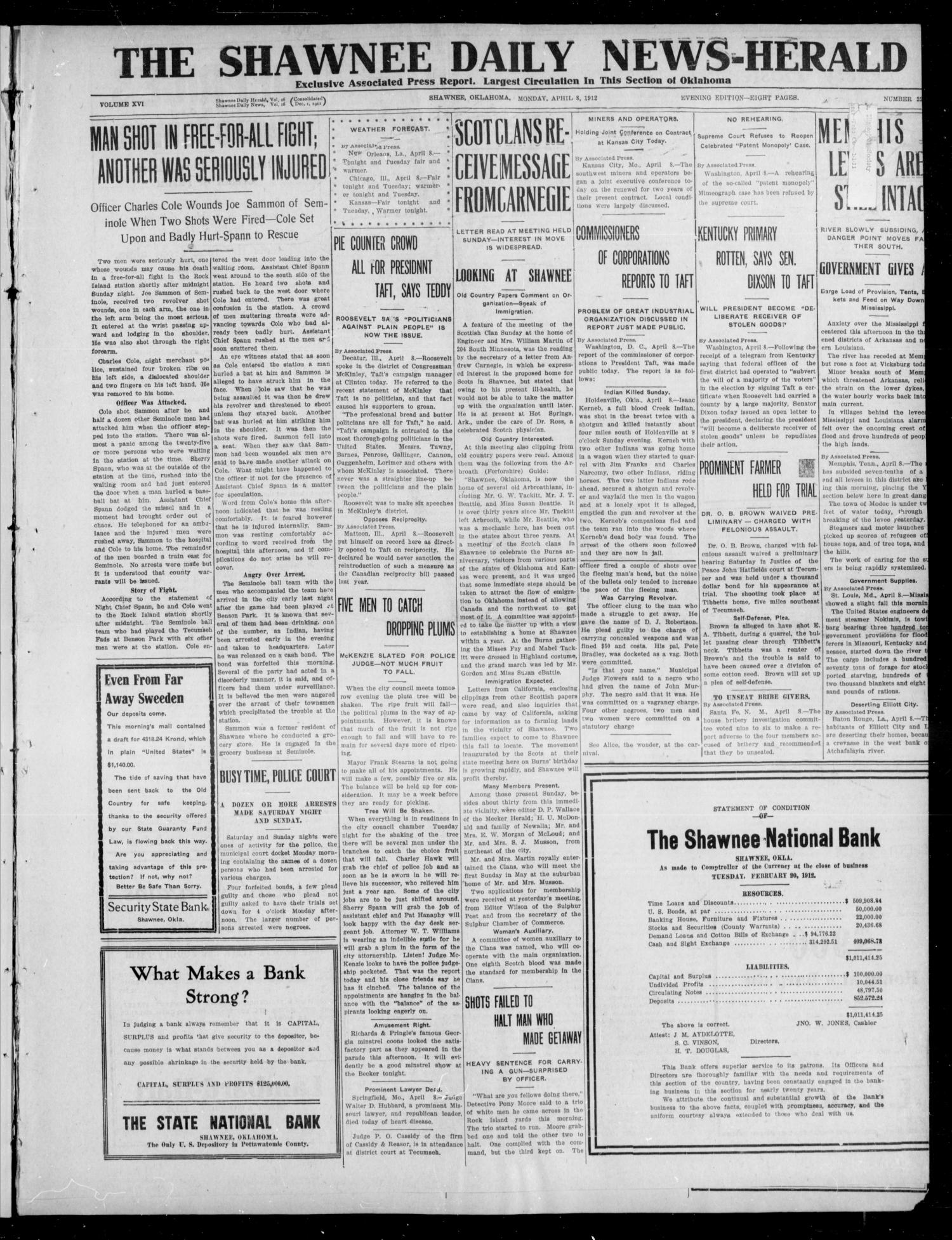 The Shawnee Daily News-Herald (Shawnee, Okla.), Vol. 16, No. 221, Ed. 1 Monday, April 8, 1912                                                                                                      [Sequence #]: 1 of 8