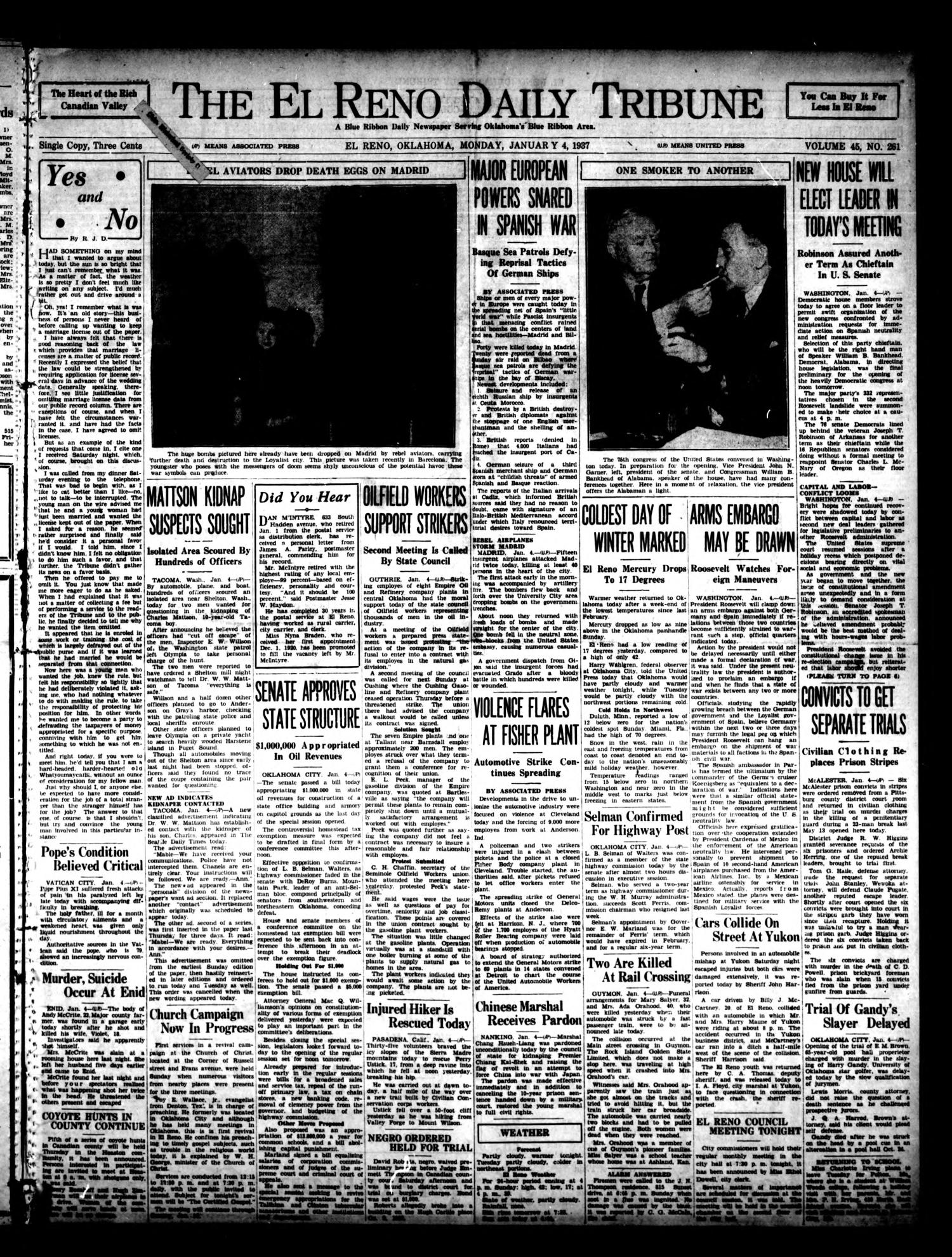 The El Reno Daily Tribune (El Reno, Okla.), Vol. 45, No. 261, Ed. 1 Monday, January 4, 1937                                                                                                      [Sequence #]: 1 of 6