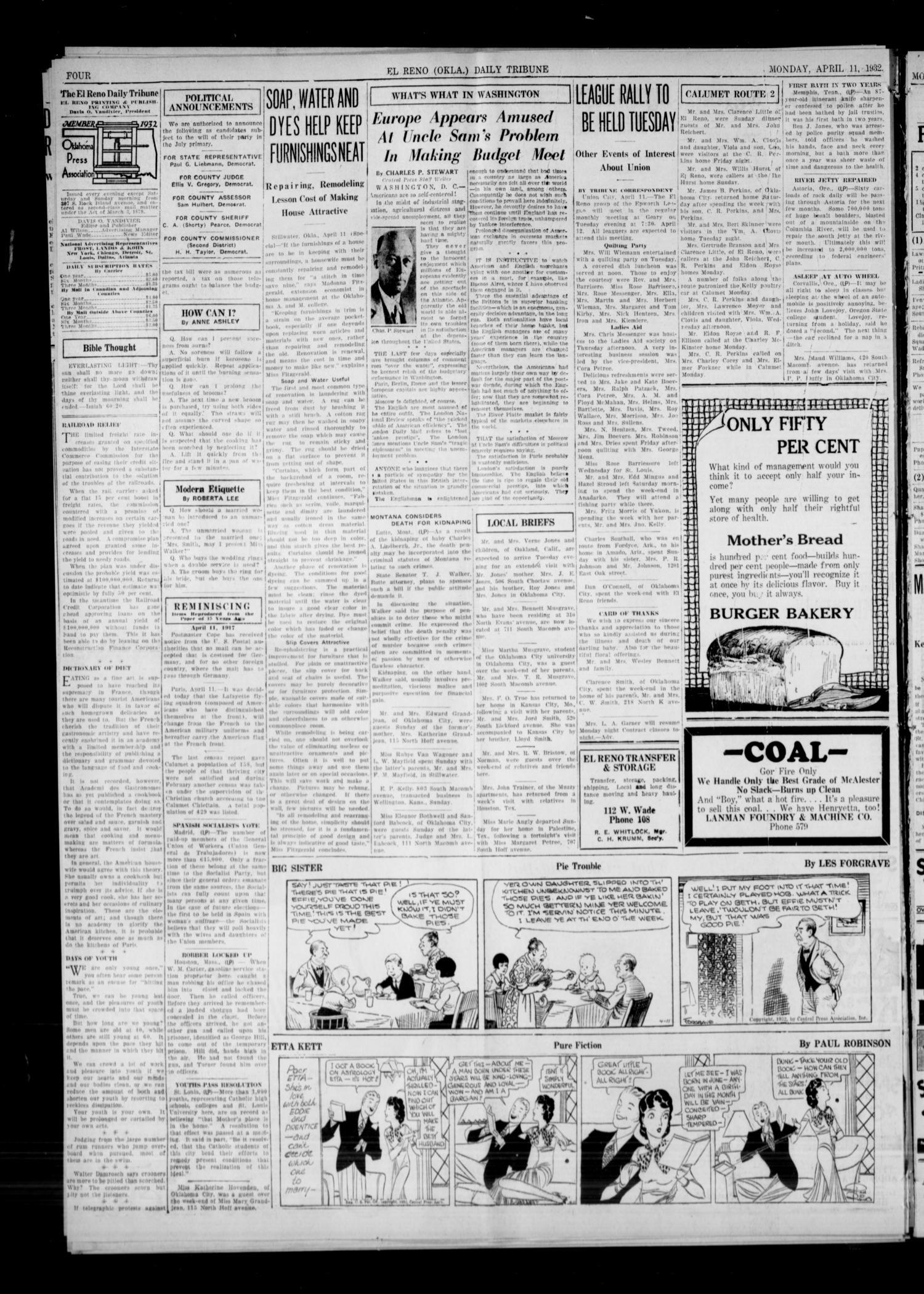 The El Reno Daily Tribune (El Reno, Okla.), Vol. 41, No. 61, Ed. 1 Monday, April 11, 1932                                                                                                      [Sequence #]: 4 of 6
